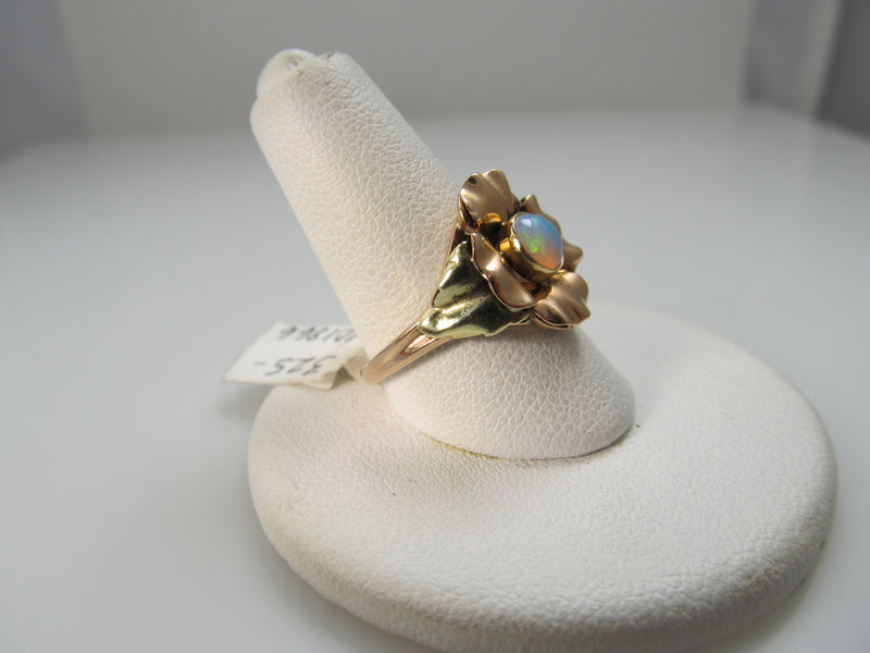 Vintage 14k Rose Gold Ring With An Opal, Circa 1940.