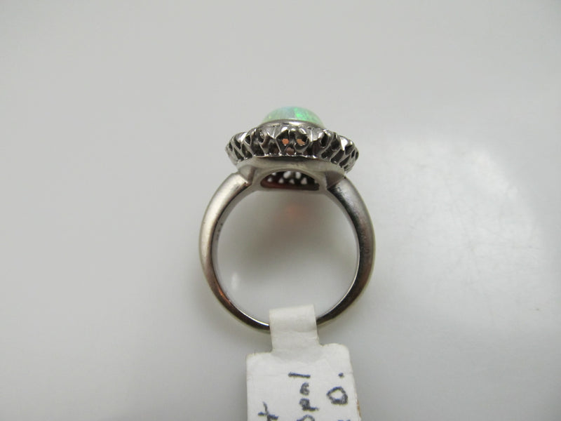 Vintage 14k White Gold Ring With A 2ct Opal And .70cts In Diamonds
