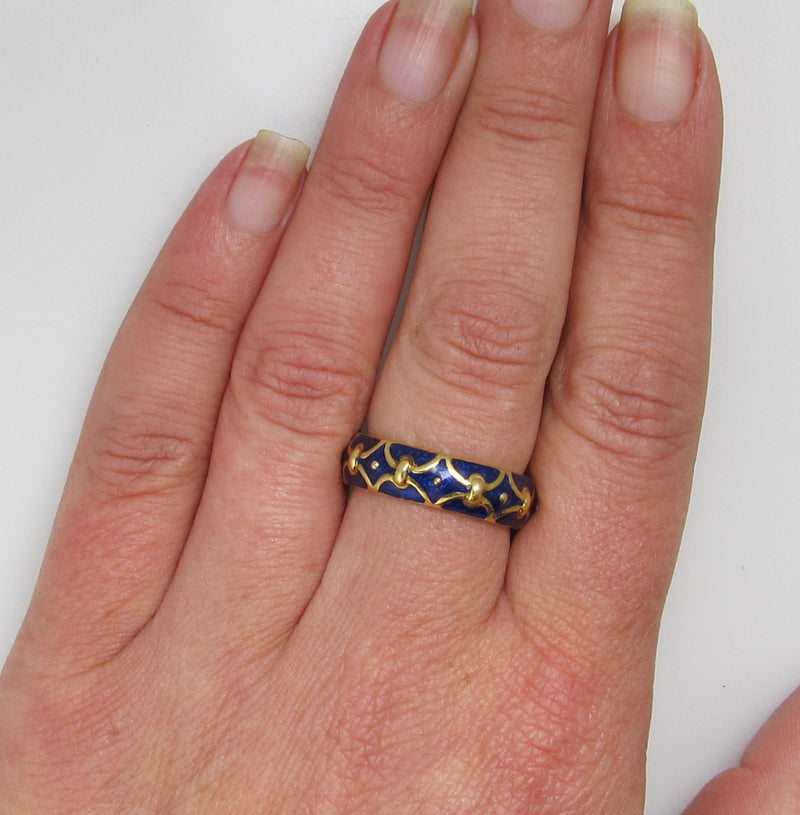 18k Yellow Gold Eternity Band With Cobalt Blue Enamel