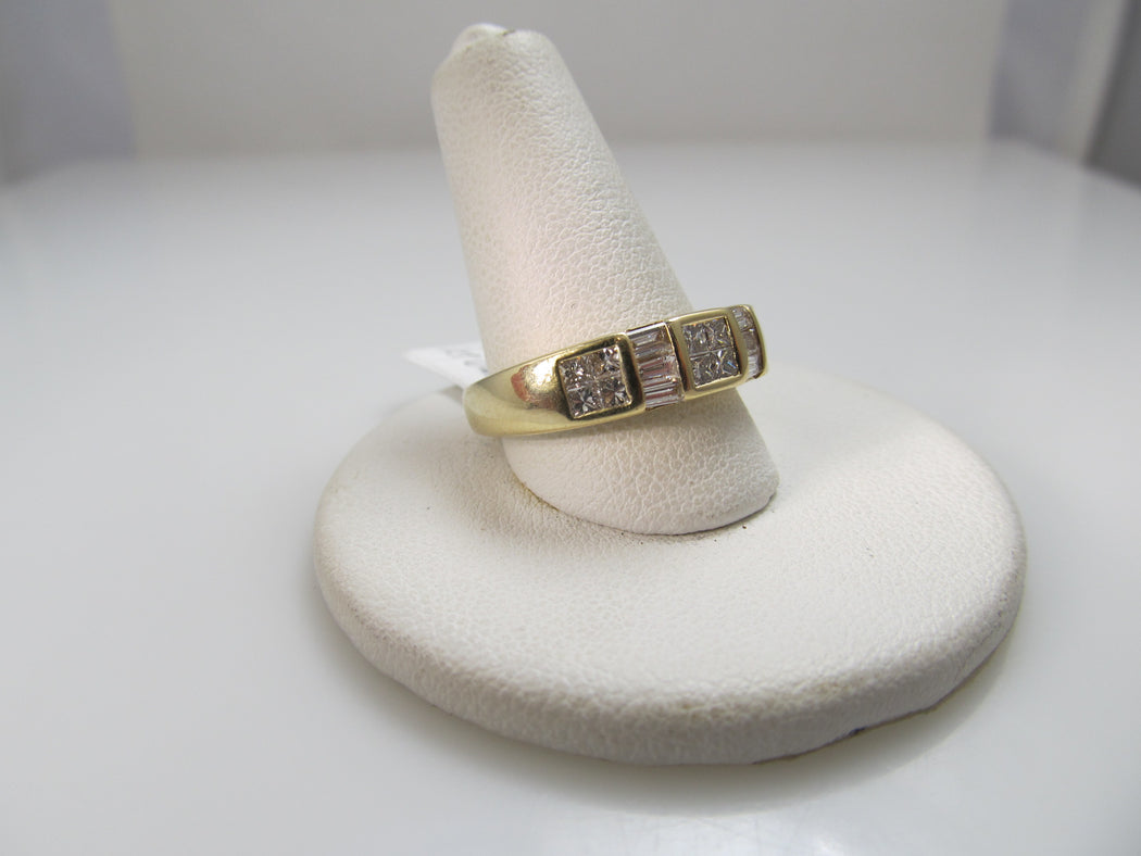 14k Yellow Gold Band With 1ct In Baguette And Princess Cut Diamonds