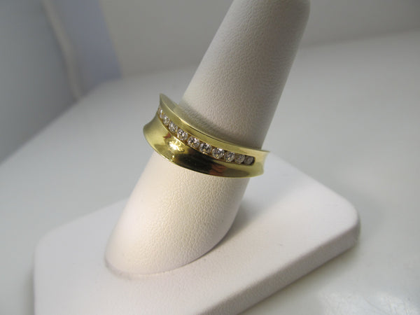 18k yellow gold wave band with diamonds, by Jill Maurer