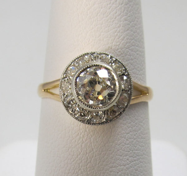 Antique 1.17 diamond engagement ring, platinum & yellow gold