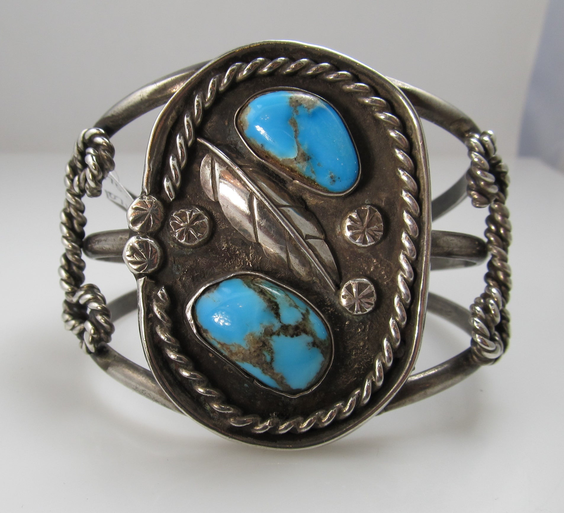 Vintage Sterling Silver Navajo Cuff Bracelet With Turquoise