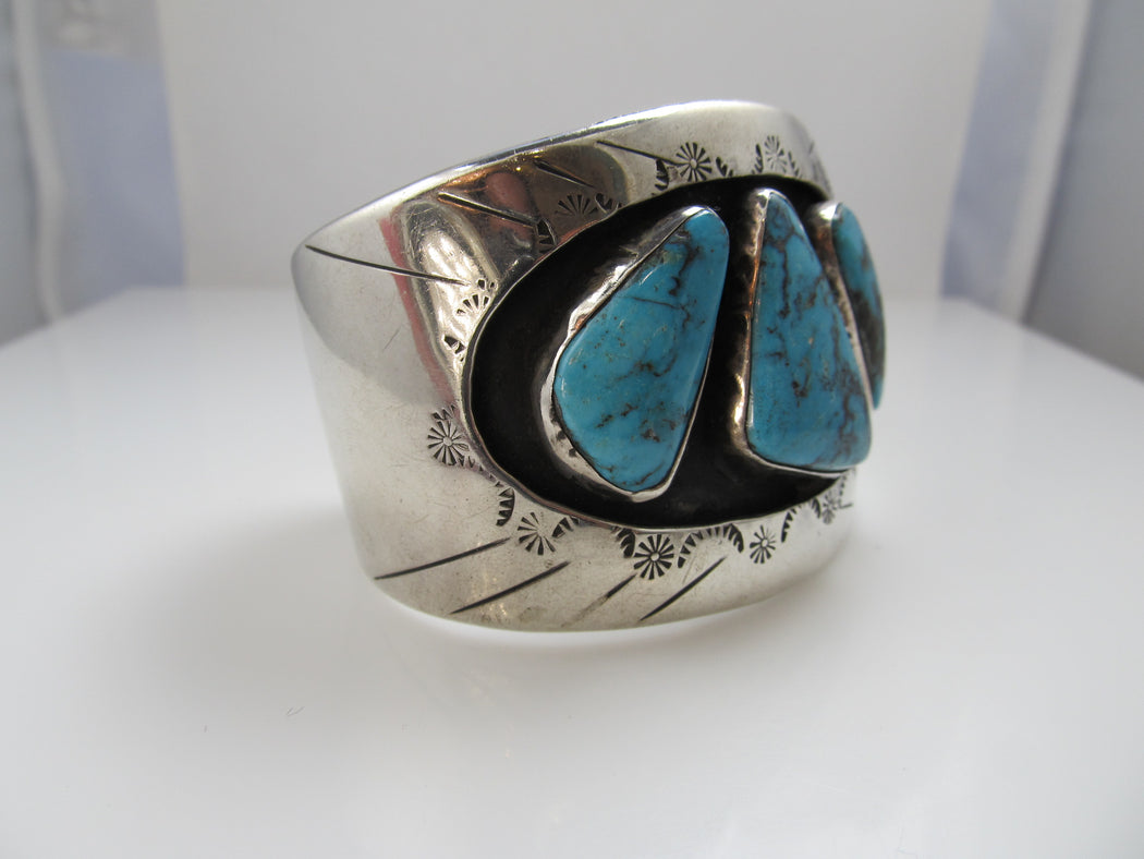 Wide Vintage Navajo Sterling Silver Turquoise Cuff Bracelet