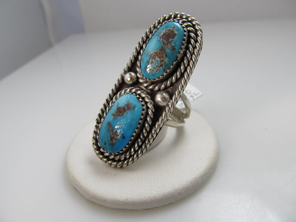 Long vintage sterling silver turquoise ring