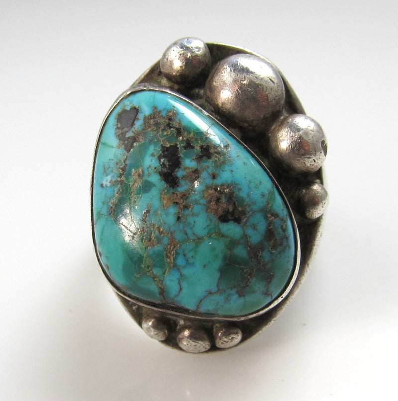 Heavy vintage Navajo sterling silver turquoise ring