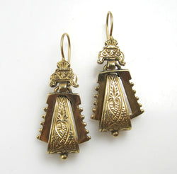 Victorian Revival 14k Yellow Gold Drop Earrings
