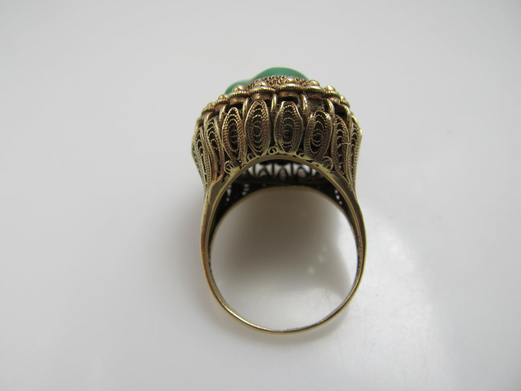 Vintage Chinese 14k Yellow Gold Filigree Turquoise Ring, Circa 1920