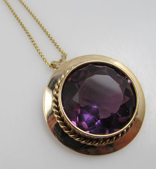 Antique 14k Rose Gold Purple Glass Necklace