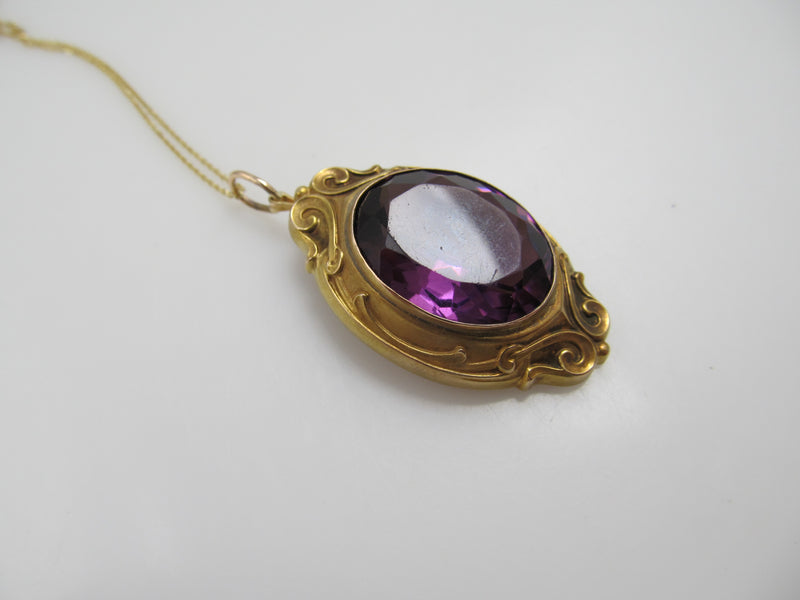 Art Nouveau Purple Glass Necklace, 14k Yellow Gold