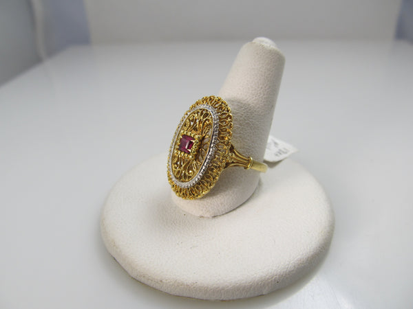 18k Yellow Gold Filigree Ring With A Ruby