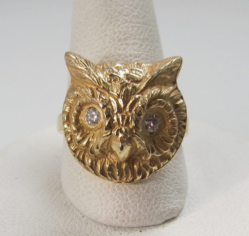 14k yellow gold owl ring with diamond eyes