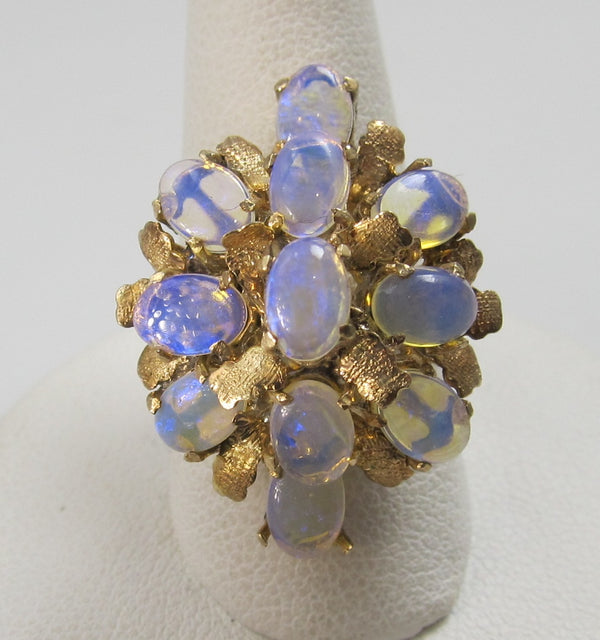 Vintage Opal Cluster Ring, 14k Yellow Gold