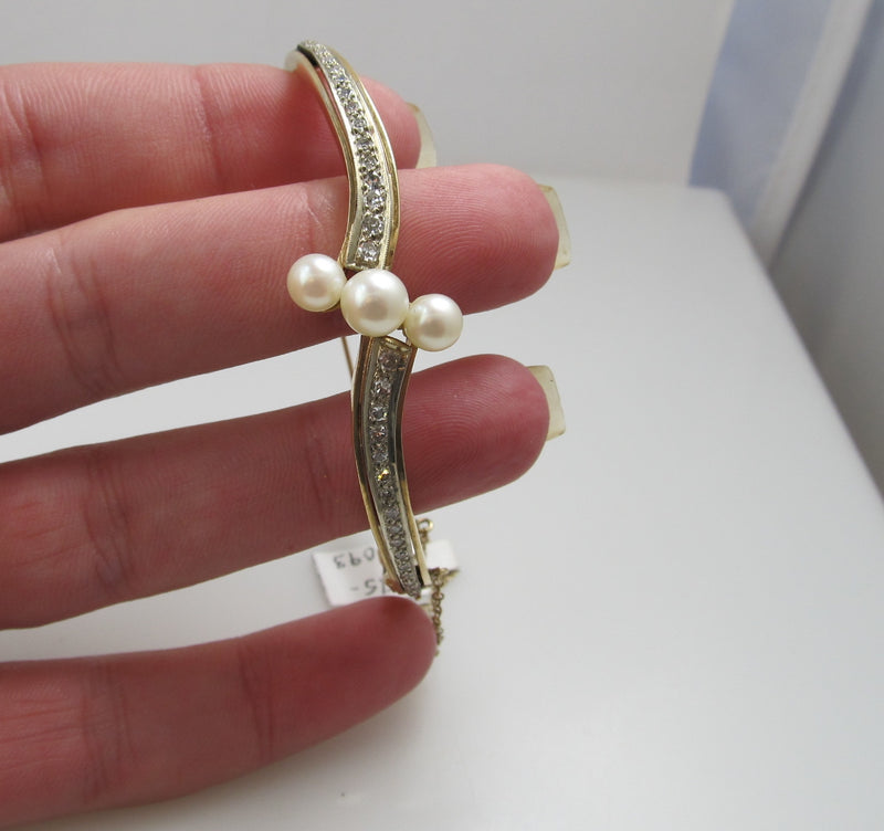 Vintage Pearl And Diamond Bangle Bracelet, 14k Yellow Gold