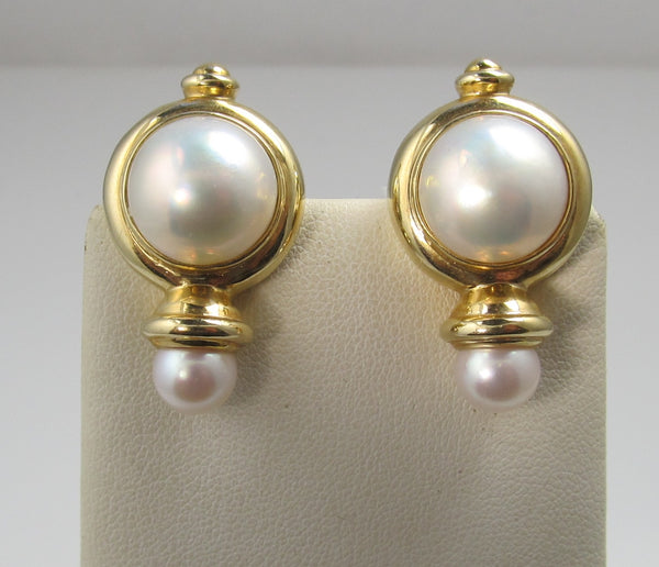 14k Yellow Gold Modern Pearl Statement Earrings