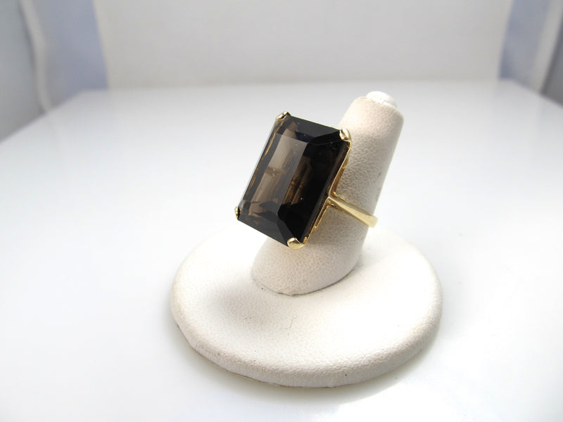 14k Yellow Gold Smokey Quartz Ring