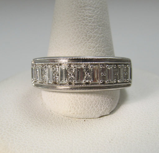 14k White Gold Band With Round And Baguette Cut Diamonds