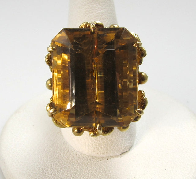 Vintage 28.00 citrine ring, 14k yellow gold