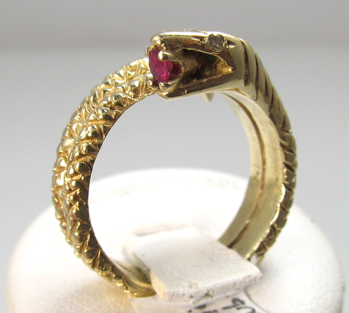 Vintage coiled snake ring, ruby, 14k yellow gold, Victorious Cape May