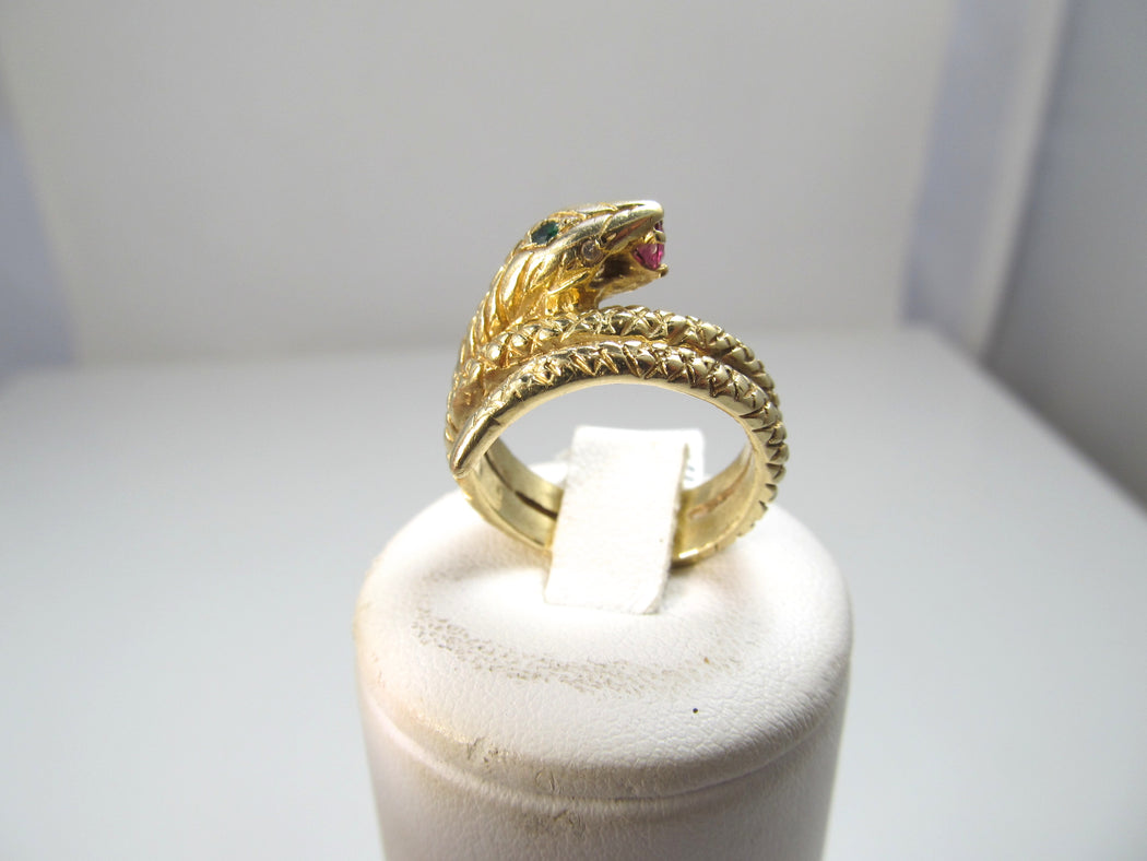 14k coiled snake ring with ruby, emerald and diamonds