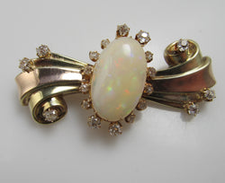 Vintage retro 11.00ct opal diamond pin, 14k rose yellow gold