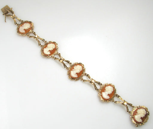 Vintage 14k yellow gold shell cameo bracelet