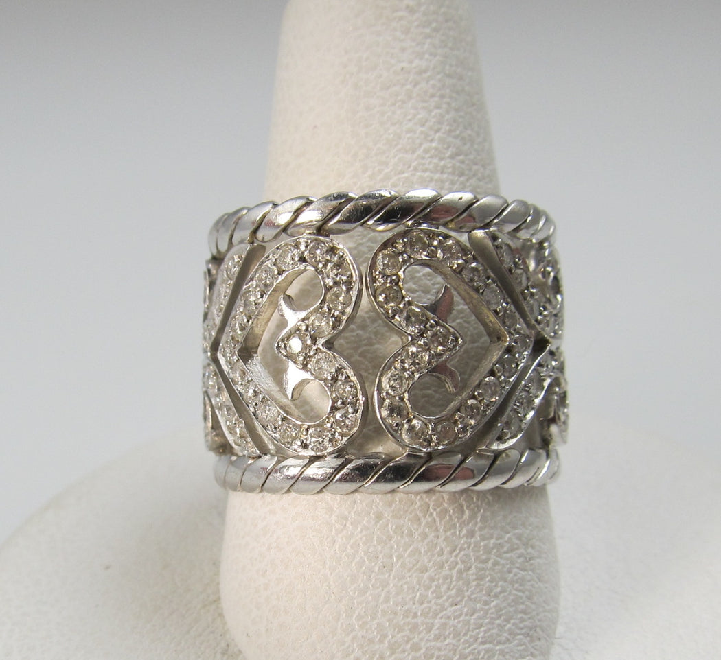 Wide 14k white gold heart scroll diamond eternity band