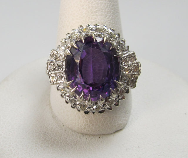 14k white gold ring with a 2 1/2ct amethyst and 1/2ct in diamonds