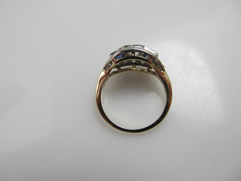 Vintage 14k white yellow gold sapphire and diamond ring, circa 1910