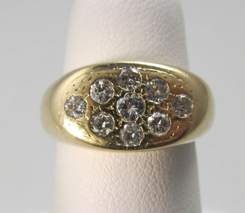 Vintage yellow gold pave set diamond ring