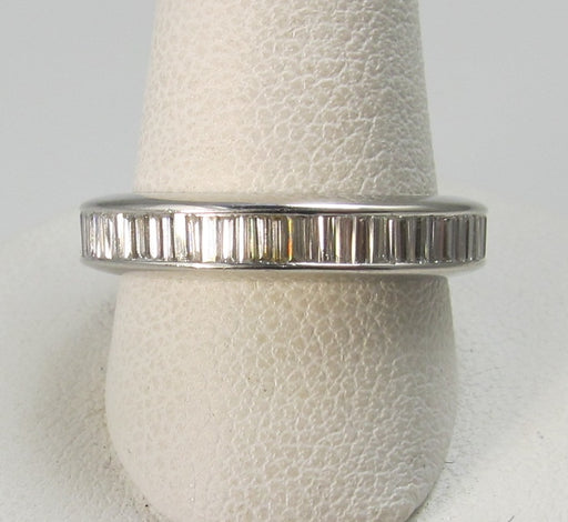 Platinum eternity band with 2cts in baguette cut diamonds