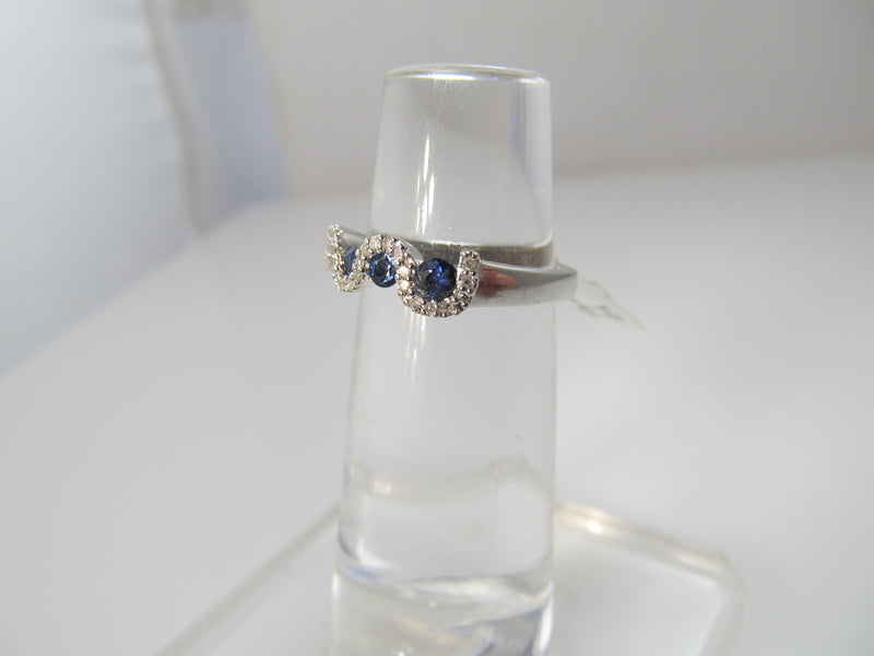 Sapphire and diamond wave ring