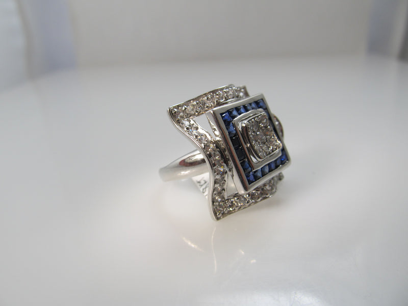 Deco style sapphire and diamond ring