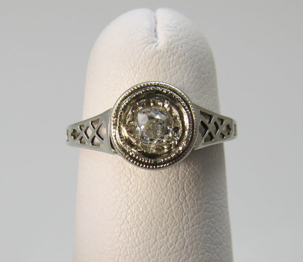 Antique 14k white gold filigree diamond engagement ring