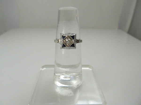 Art Deco sapphire and diamond ring, 14k white gold
