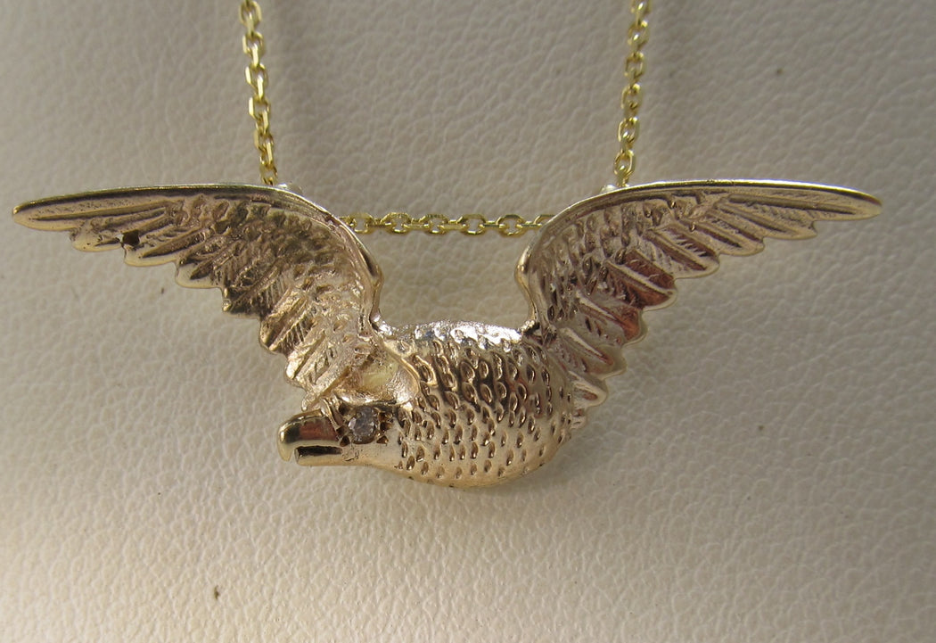 Antique rose gold eagle necklace, antique jewelry, victorious, cape may