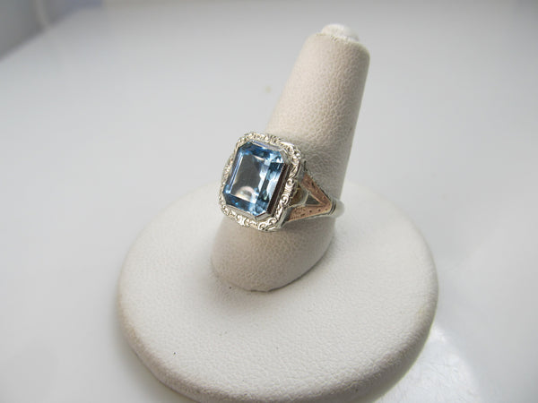 Antique 14k tri-color gold filigree ring with a 3.50ct aquamarine, circa 1920