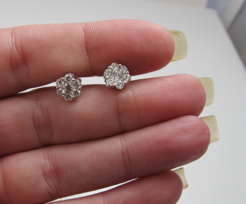 14k white gold diamond cluster stud earrings