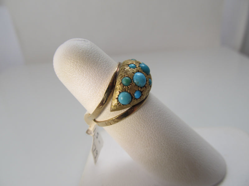 Vintage star set turquoise ring
