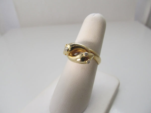 Vintage double head snake ring