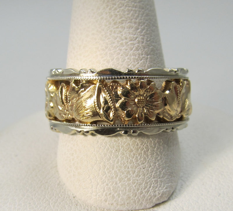 Vintage 14k white and rose gold band