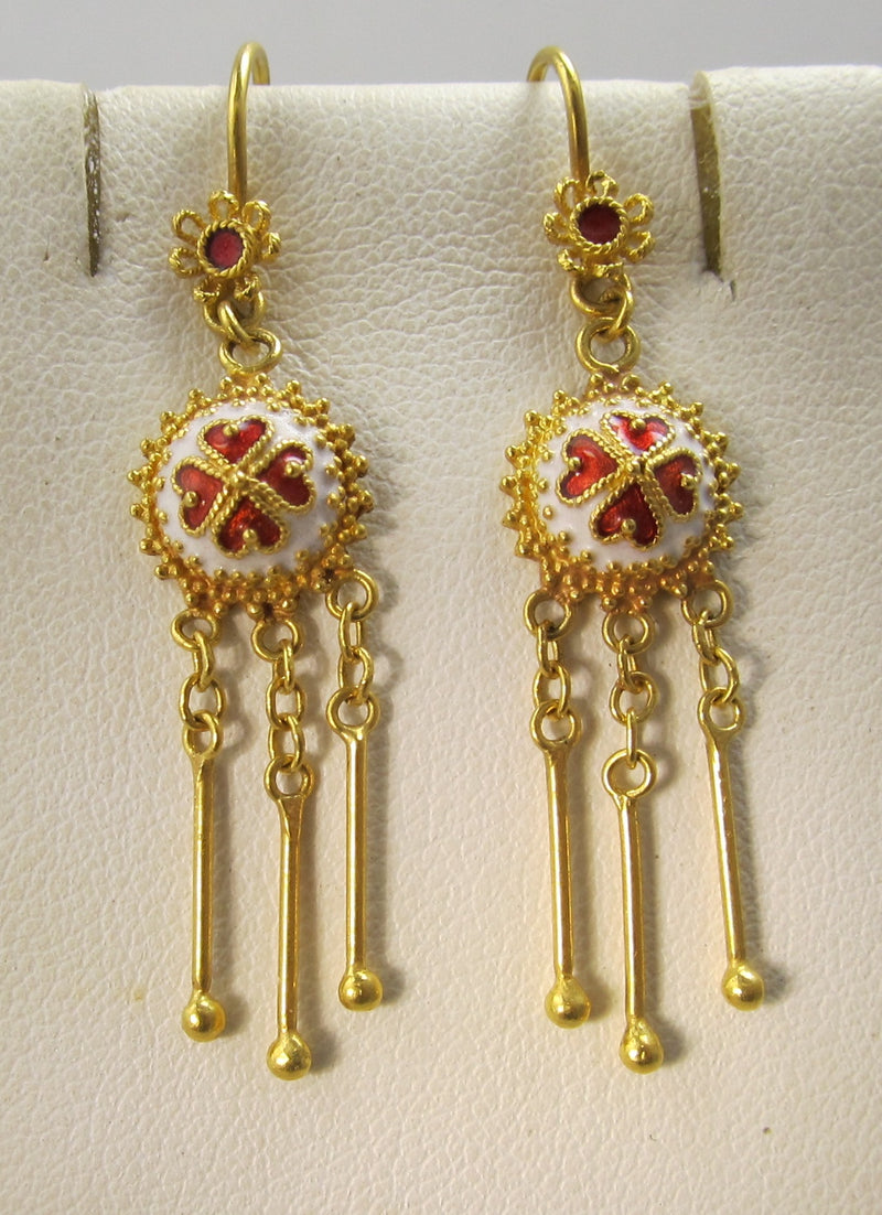 22k gold earrings with red and white enamel