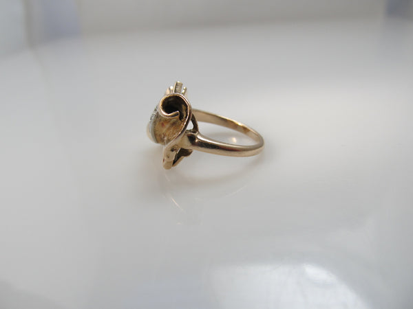 Retro rose gold bow pinky ring