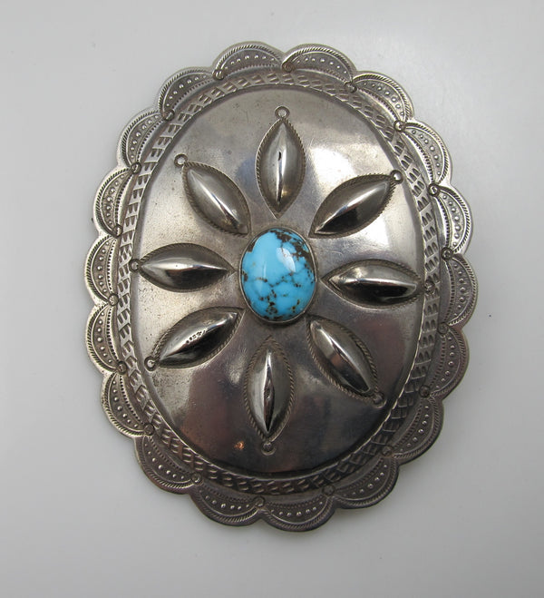 Large antique sterling silver turquoise concho pin/pendant
