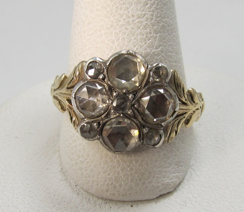 Georgian 14k and silver rose cut diamond ring, 1790-1820
