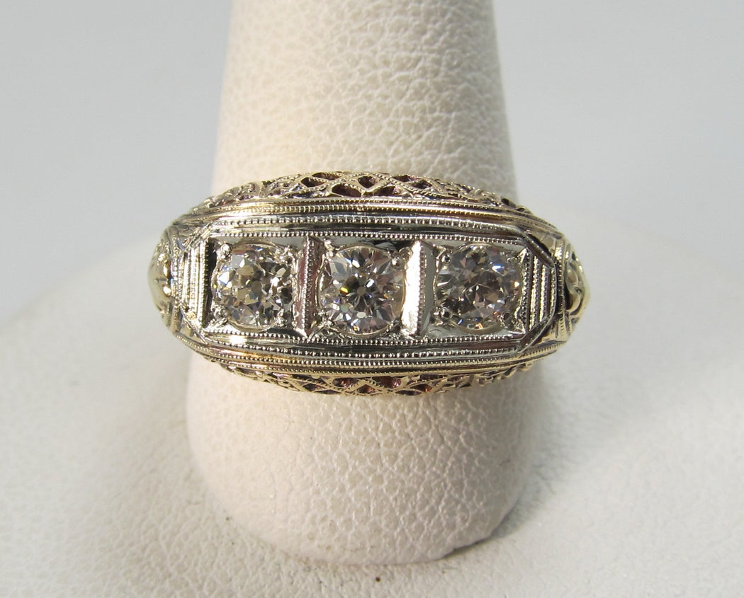 Vintage 14k yellow gold filigree 3 stone diamond ring, circa 1920