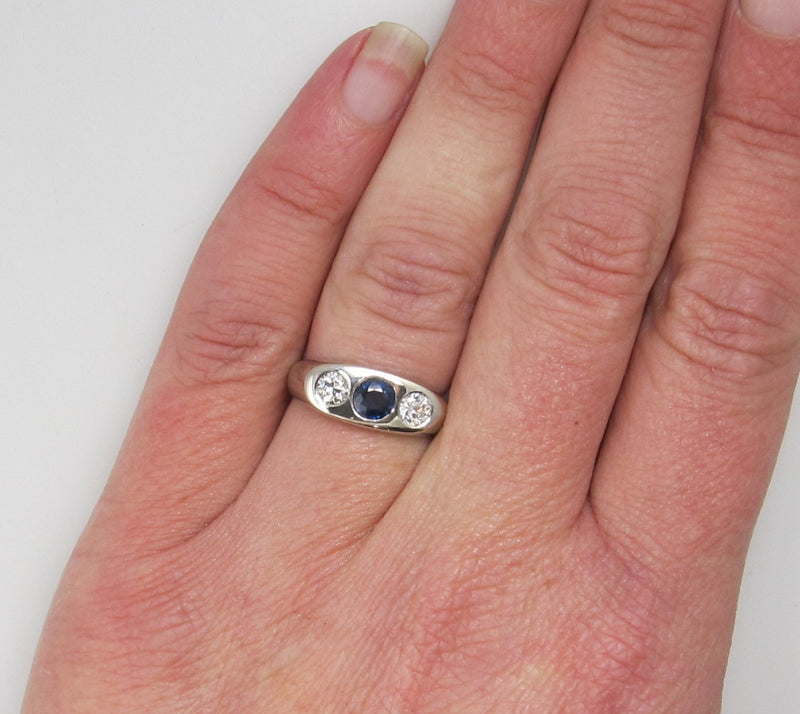 Vintage sapphire diamond gypsy ring, 14k white gold