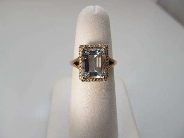 3ct rose gold aquamarine diamond ring