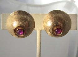 Vintage retro 14k ruby cabochon clip on earrings, circa 1940