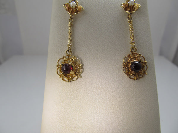 14k gold pearl and garnet drop earrings